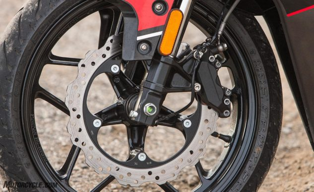 A four-piston caliper and 300mm wheel-mounted disc stop the 356-lb GD pretty well.
