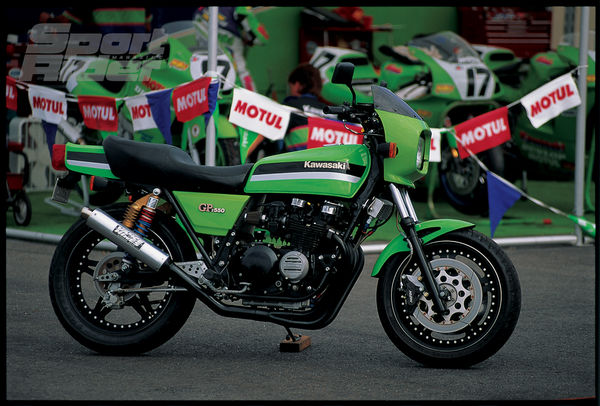 Something old, something new: Ludington's made-over GPz550 rests in front of the Muzzy Kawasaki pits, reminding fans of the days Eddie Lawson and Wayne Rainey wrestled Superbikes that looked more like