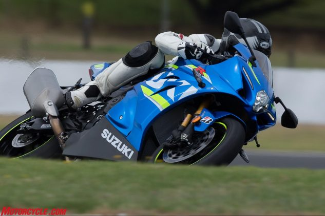 Trainspotter types will notice the gold cylinders behind the fork tubes as confirmation of the GSX-R1000R. The standard Gixxer Thou uses a Showa Big Piston fork instead of the Balance Free fork seen here.