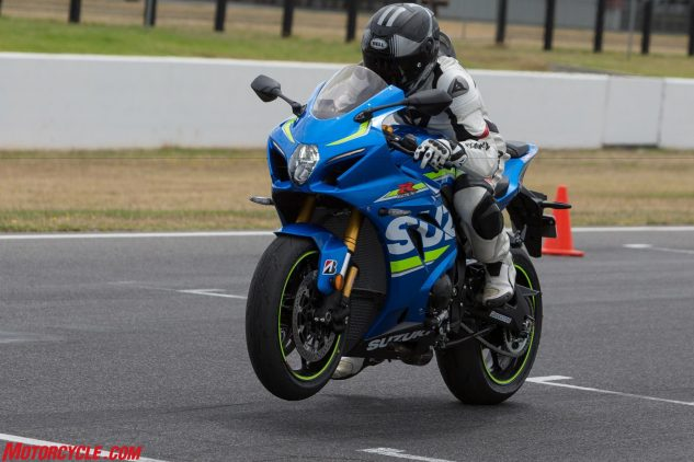 The GSX-R1000R includes a launch-control function, which we got to test at the track. It's basically a rev limiter that holds the engine at 10,000 rpm, allowing a rider to concentrate only on how quickly the clutch is released, but It also works with Motion Track TCS to control throttle-valve opening and ignition timing while monitoring front and rear wheel speeds. It disengages when a rider upshifts into third gear or closes the throttle.