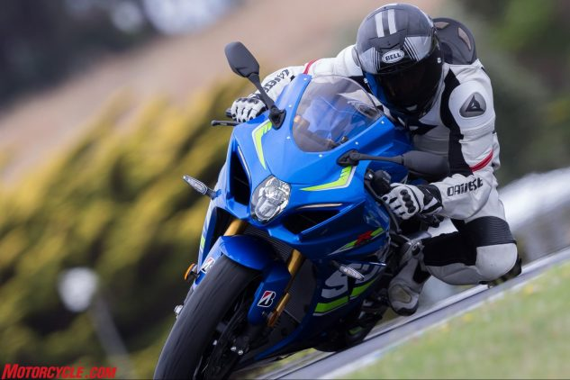 This latest Gixxer carries over the GSX-R line's willingness to be mobbed around a racetrack.