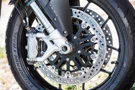 Brembo Monobloc radial calipers up front give excellent feel thanks to being paired with a Nissin radial master cylinder.