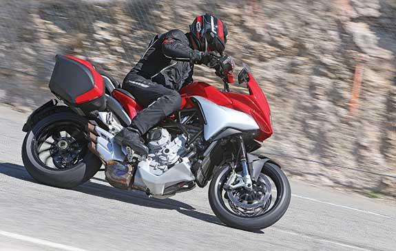 Though it requires a bit of  revving to pull away from a stop, the MV's engine delivers gobs of midrange torque from 3,500 to 9,000 rpm. Pop it into third gear and you can leave it there for blitzing the canyons.